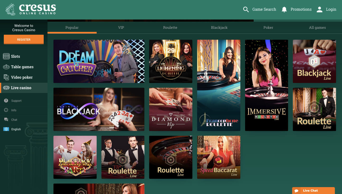 cresus casino screenshot