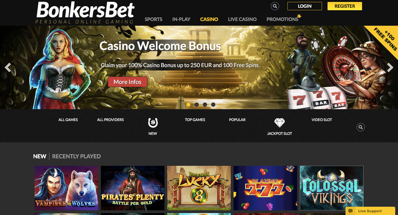 bonkersbet casino screenshot