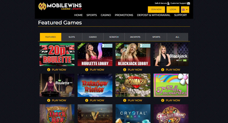 mobile wins casino screenshot