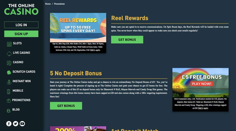 the online casino screenshot