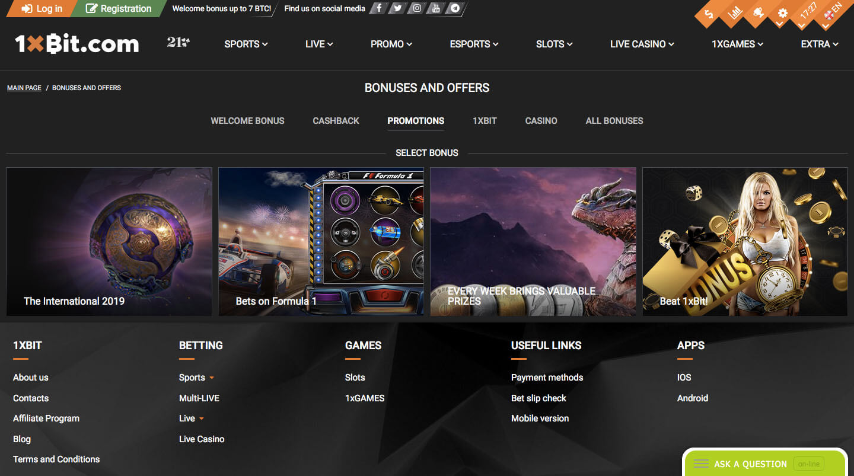 1xbit casino screenshot